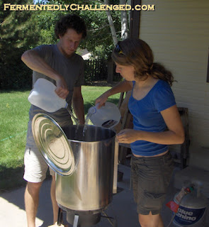 Homebrewing outdoors in summer heat