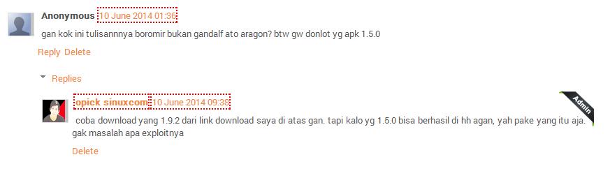 contoh komentar blog menggunakan icon admin