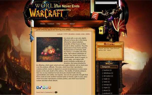 Free Vector Warcraft WOW Games Blogger Theme Template