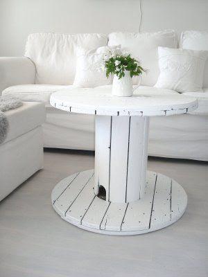 Mesas auxiliares hechas con bobinas de cable