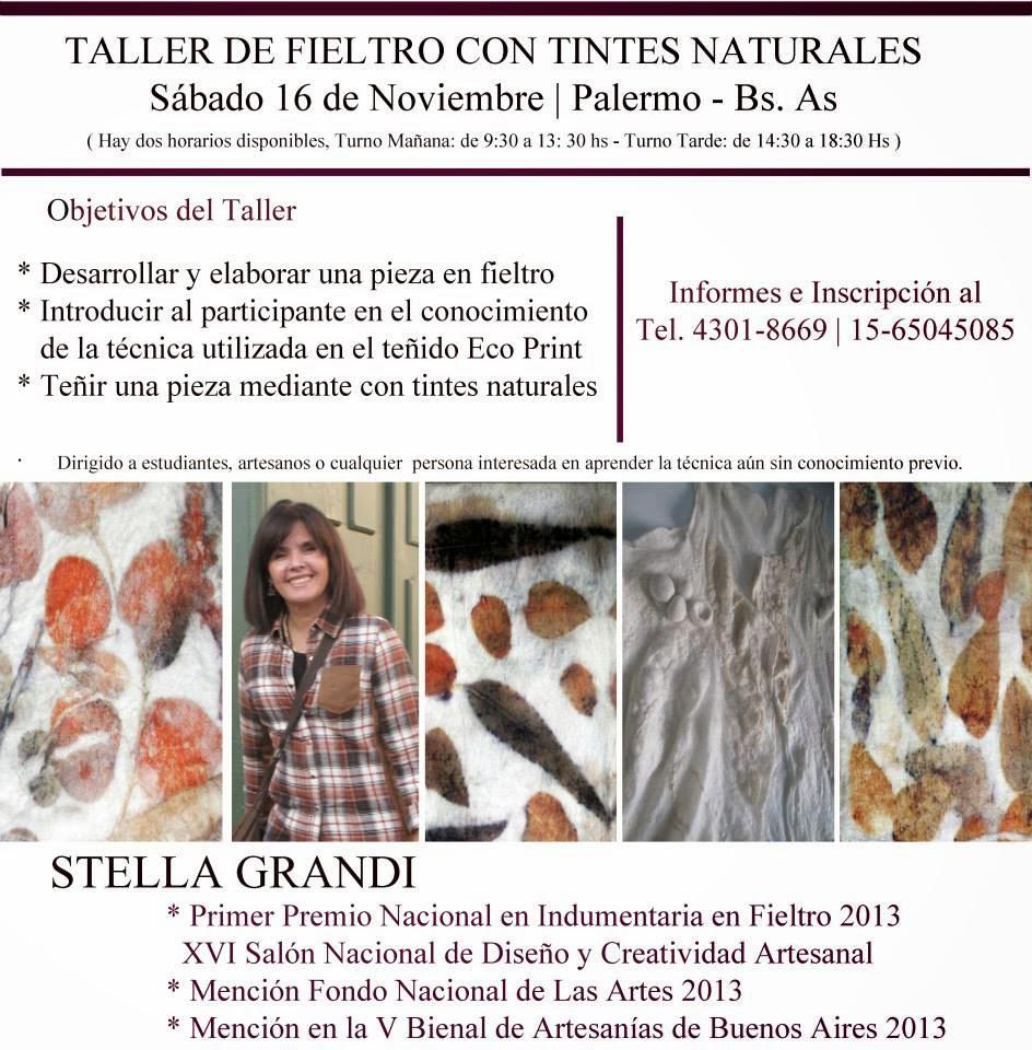 TALLER DE FIELTRO CON TINTES NATURALES. ECO  PRINT. ECO FIELTRO