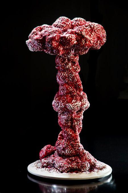 Maria Rubinke esculturas porcelana surreais sangue crianças macabras Cérebros