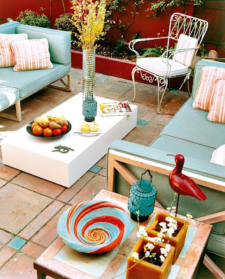 Red and Turquoise Patio