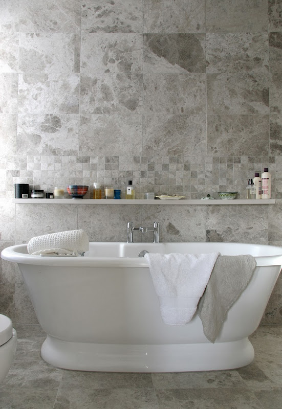 White Marble Bathroom Shelf Over Sink