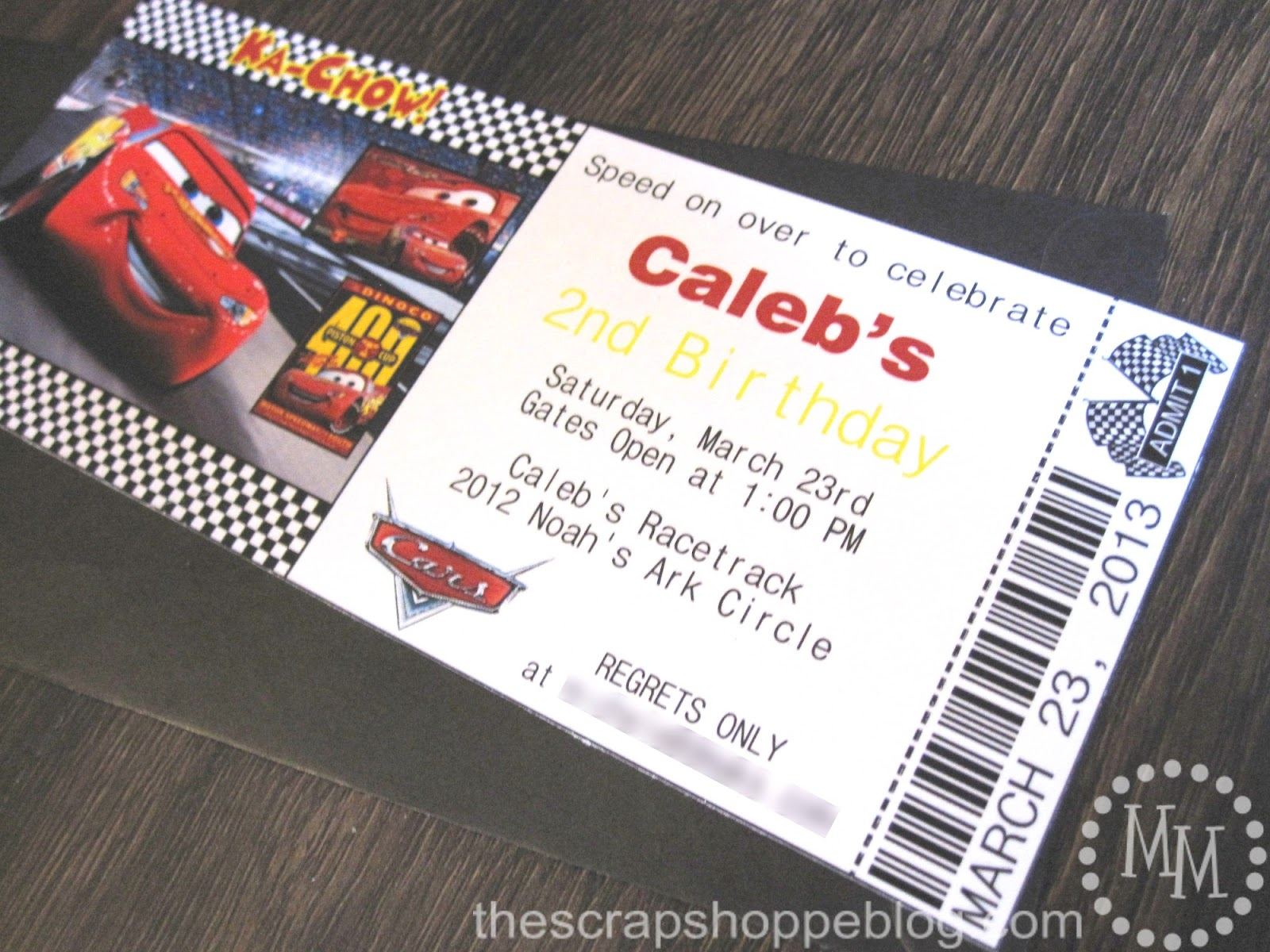 cars birthday invitation the scrap shoppe
