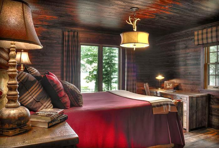 Деревянный дом в американском стиле, спальня