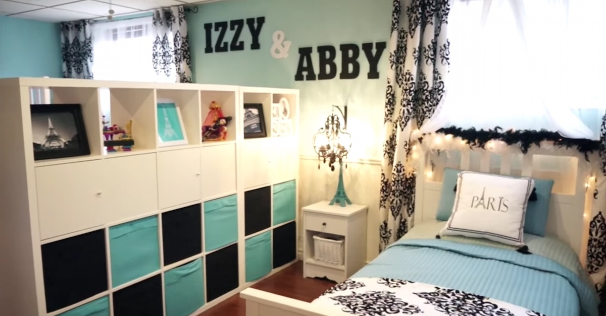 split bedroom. Mom Transforms A Dingy Basement Into Beautiful Split Bedroom For Her Two  Daughters