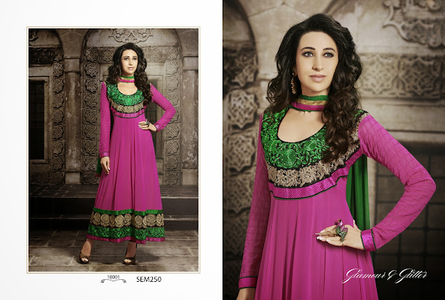 Karishma Kapoor Ankle Length Embroidered Anarkali Suit-Buy Online Shopping