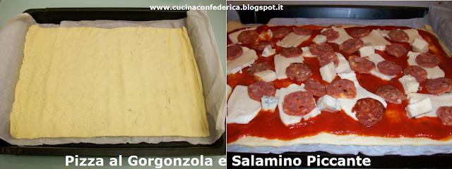 pizza gorgonzola e salamino piccante (con impasto per pizza in rotolo!)