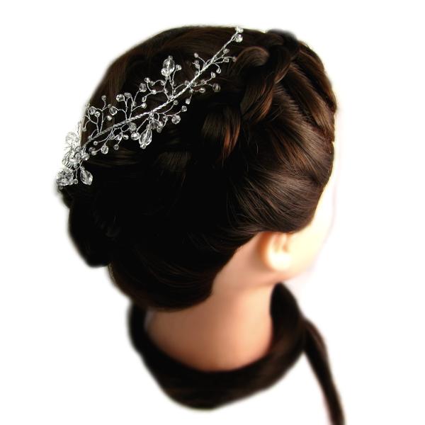 Airy - kryształowa gałązka ślubna i fryzura ślubna z warkoczem