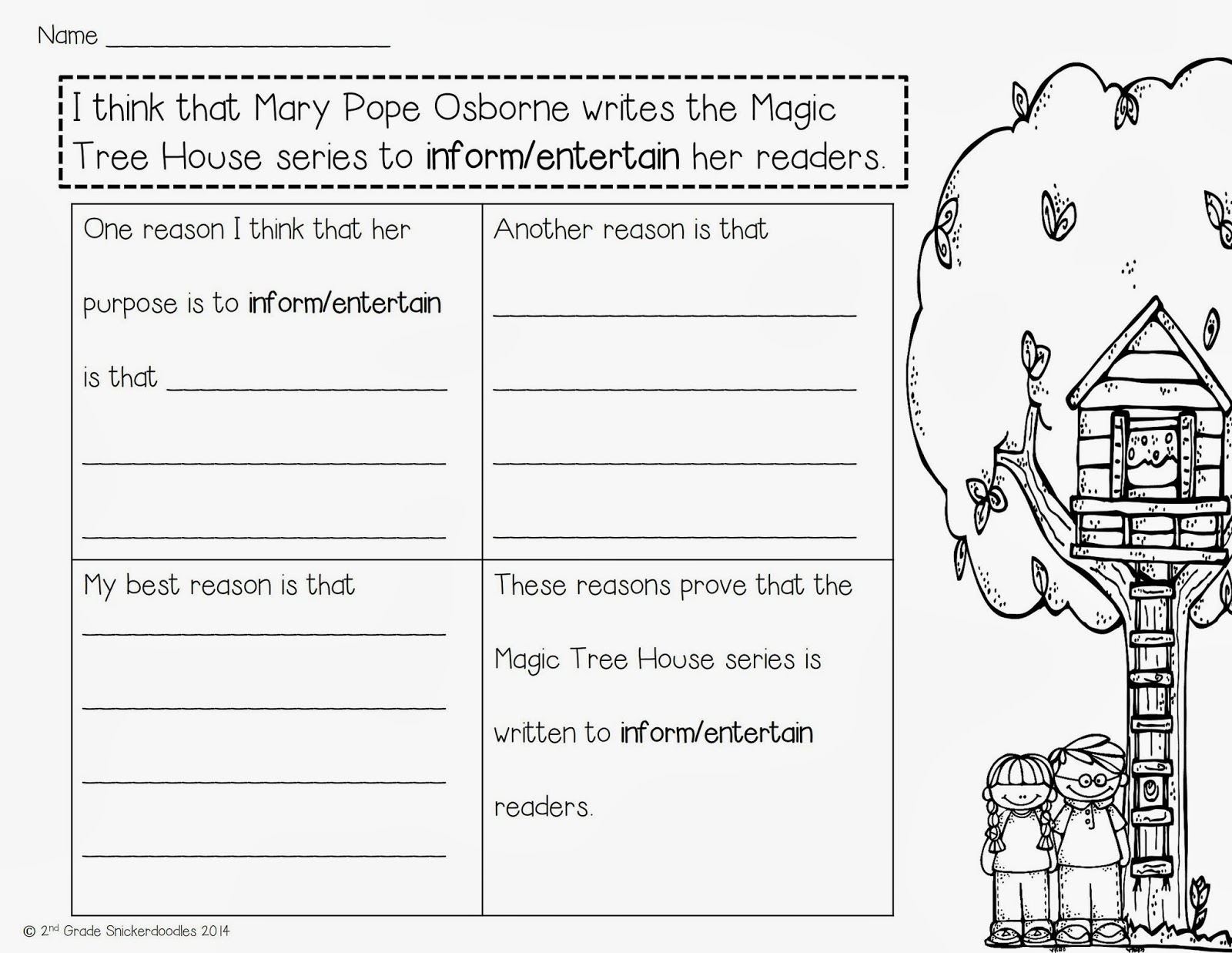 2nd Grade Snickerdoodles Authors Purpose with a Freebie – Authors Purpose Worksheet