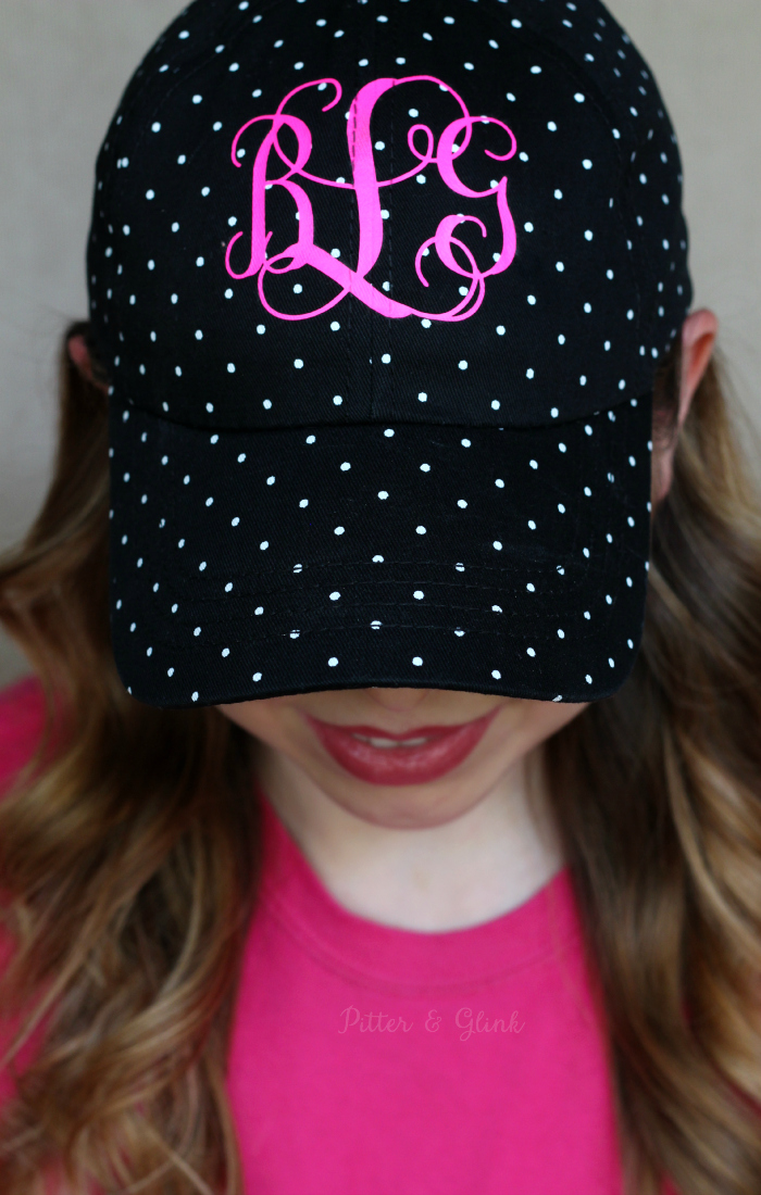Make your own monogrammed baseball hat using a plain hat, heat transfer vinyl, and your Silhouette. www.pitterandglink.com
