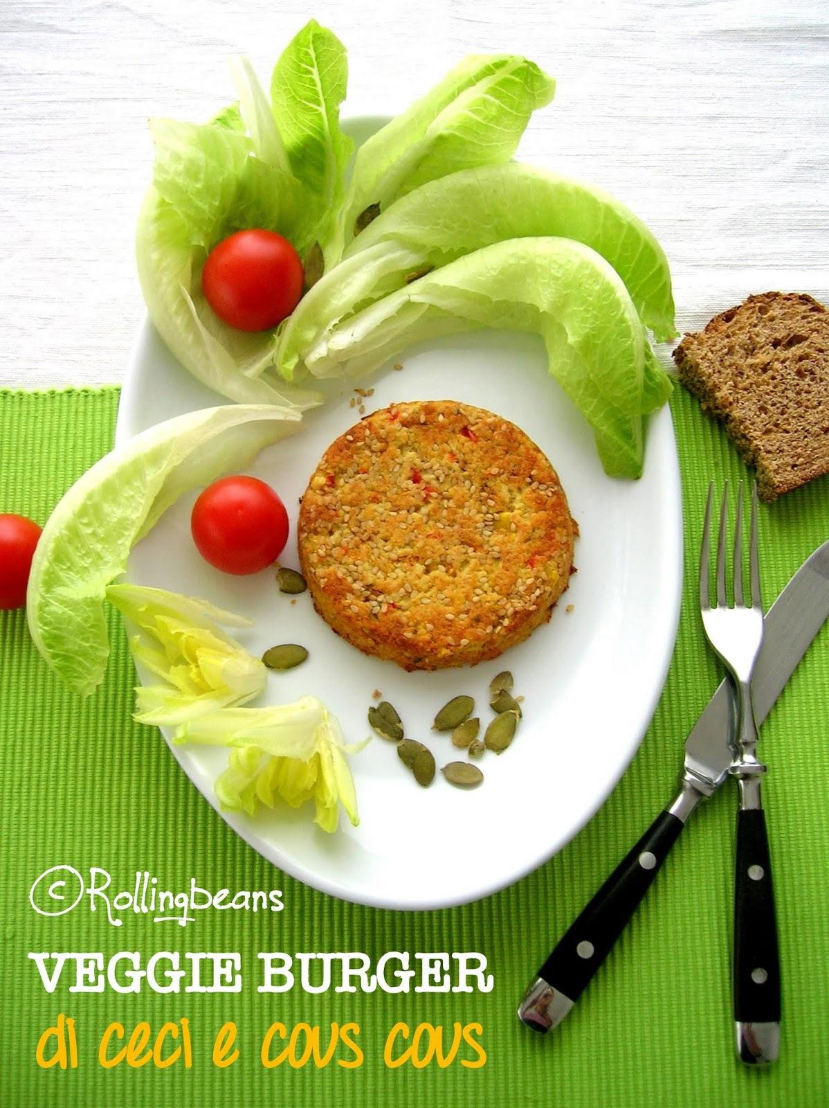 veggie burger di ceci e cous cous (vegan)