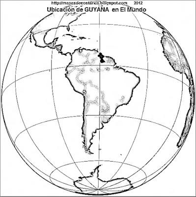 Ubicación de GUYANA en El Mundo, blanco y negro, wikipedia