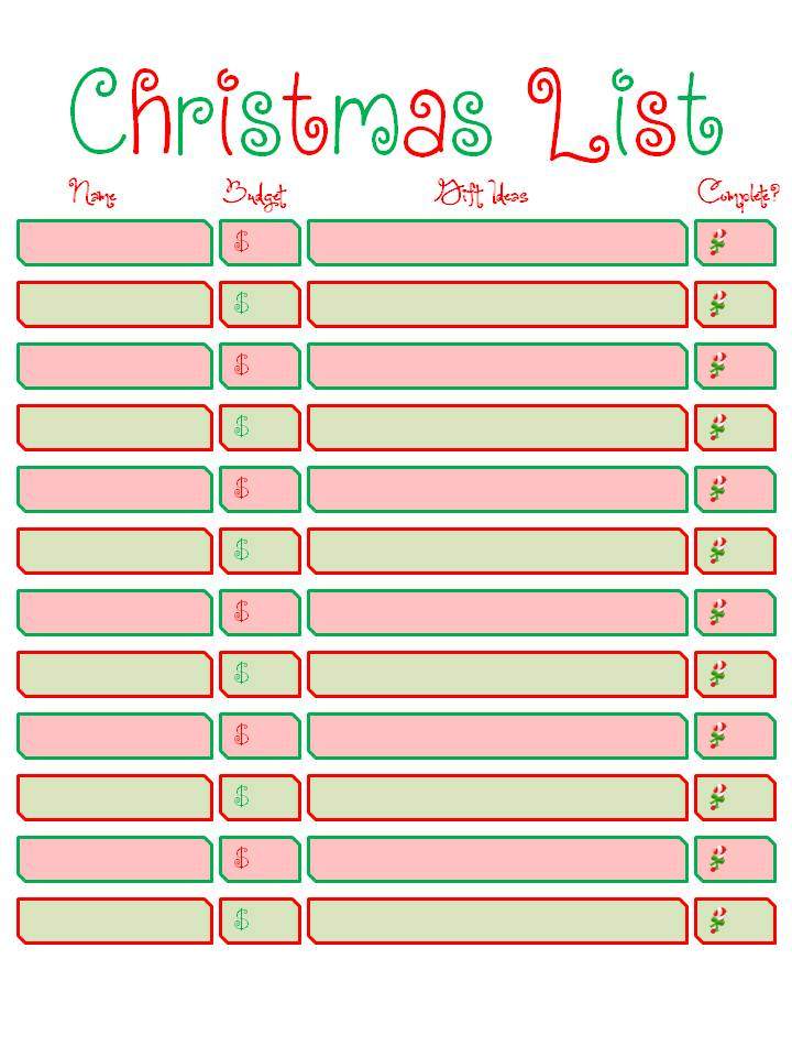 Declarative image pertaining to printable christmas list