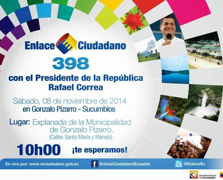 Cadena Sabatina de Rafael Correa #Enlace398