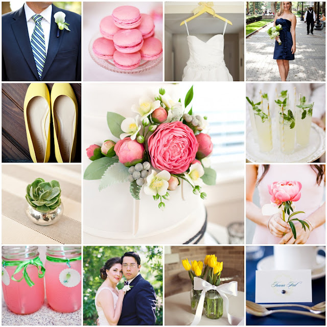 pink blue green yellow wedding