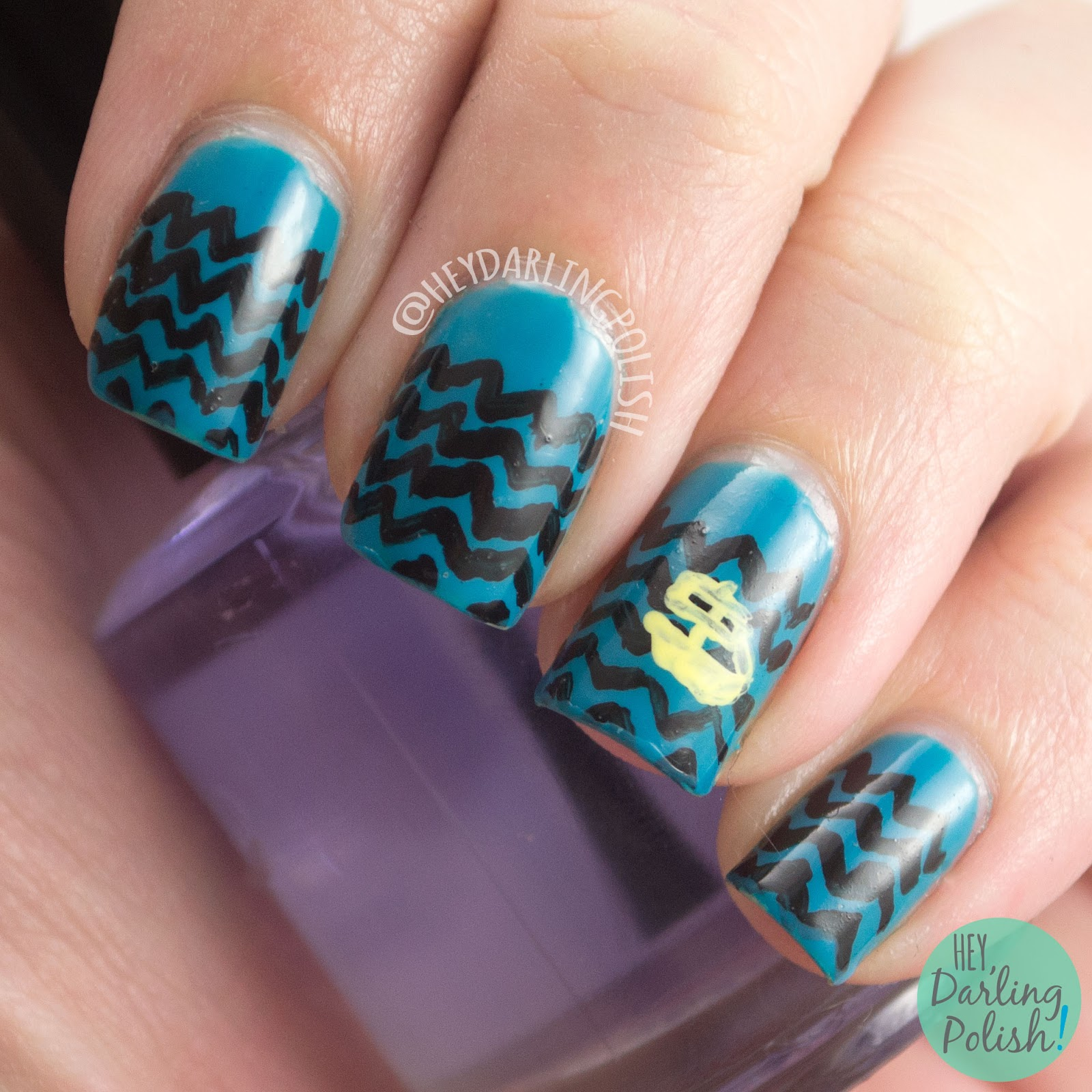 nails, nail art, nail polish, hey darling polish, the odyssey of homer, waves, zig zags, the nail challenge collaborative