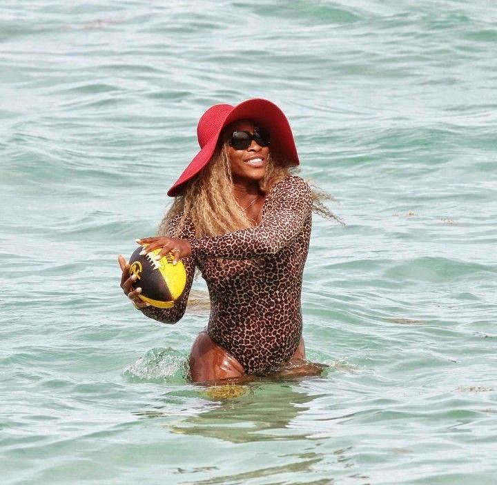 Caroline Wozniacki wears a blue bikini at Miami on Sunday, June 1, 2014