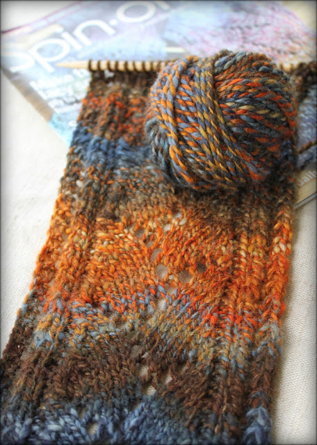 Lyme Regis Scarf with handspun hand-dyed yarn