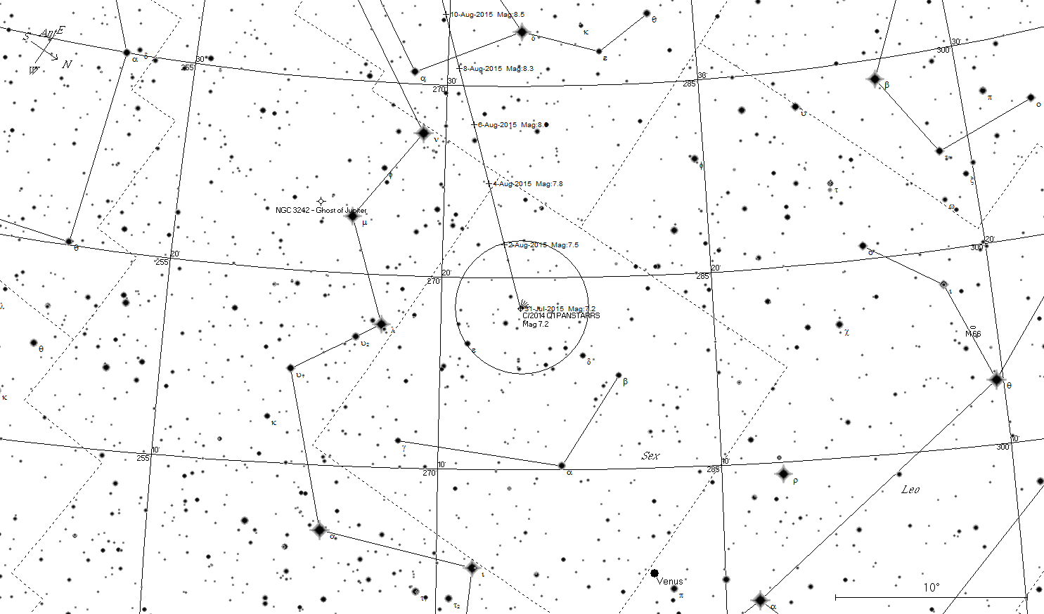 Printable black and white map suitable for use with binoculars the circle is the field of view of 10x50 binoculars the time is 19 00 acst similar views