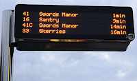 "Picture of an electronic ""what time is the next bus"" information sign from Dublin (Swords, Skerries and Santry)"