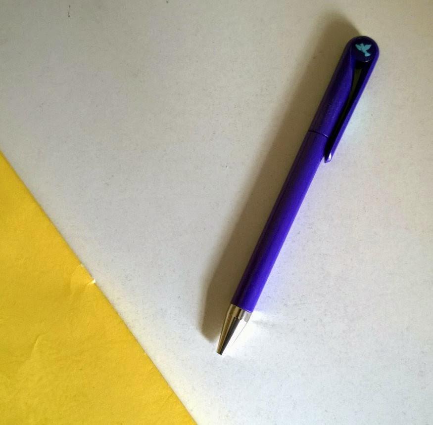 Seven year pen - purple with yellow folder