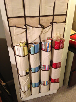 Unused over the door shoe organizer into a wrapping paper organizer :: OrganizingMadeFun.com