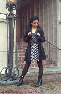 black and white houndstooth skirt outfit