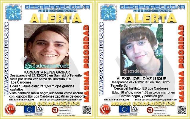 Margarita y Alexis dos menores desaparecidos en San Isidro, Tenerife