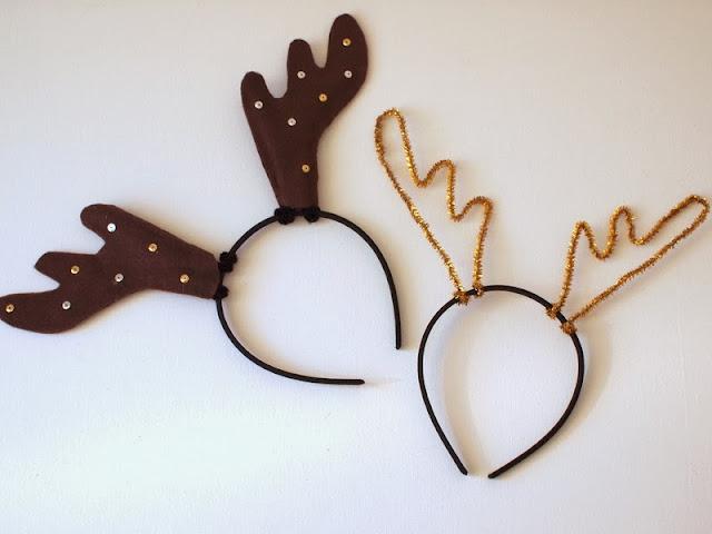 Diy reindeer antler headbands pink stripey socks for Reindeer antlers headband craft