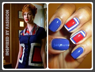 Mad Men, Inspired By Fashion, Inspired by Joan Holloway, cobalt, blue, red, white, China Glaze, Hey Sailor, Love & Beauty Cobalt, nails, nail art, nail design, mani