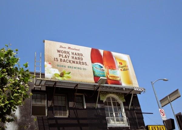 Work play hard is backwards Kona Brewing billboard