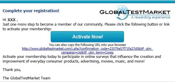 Activation process - Global test market