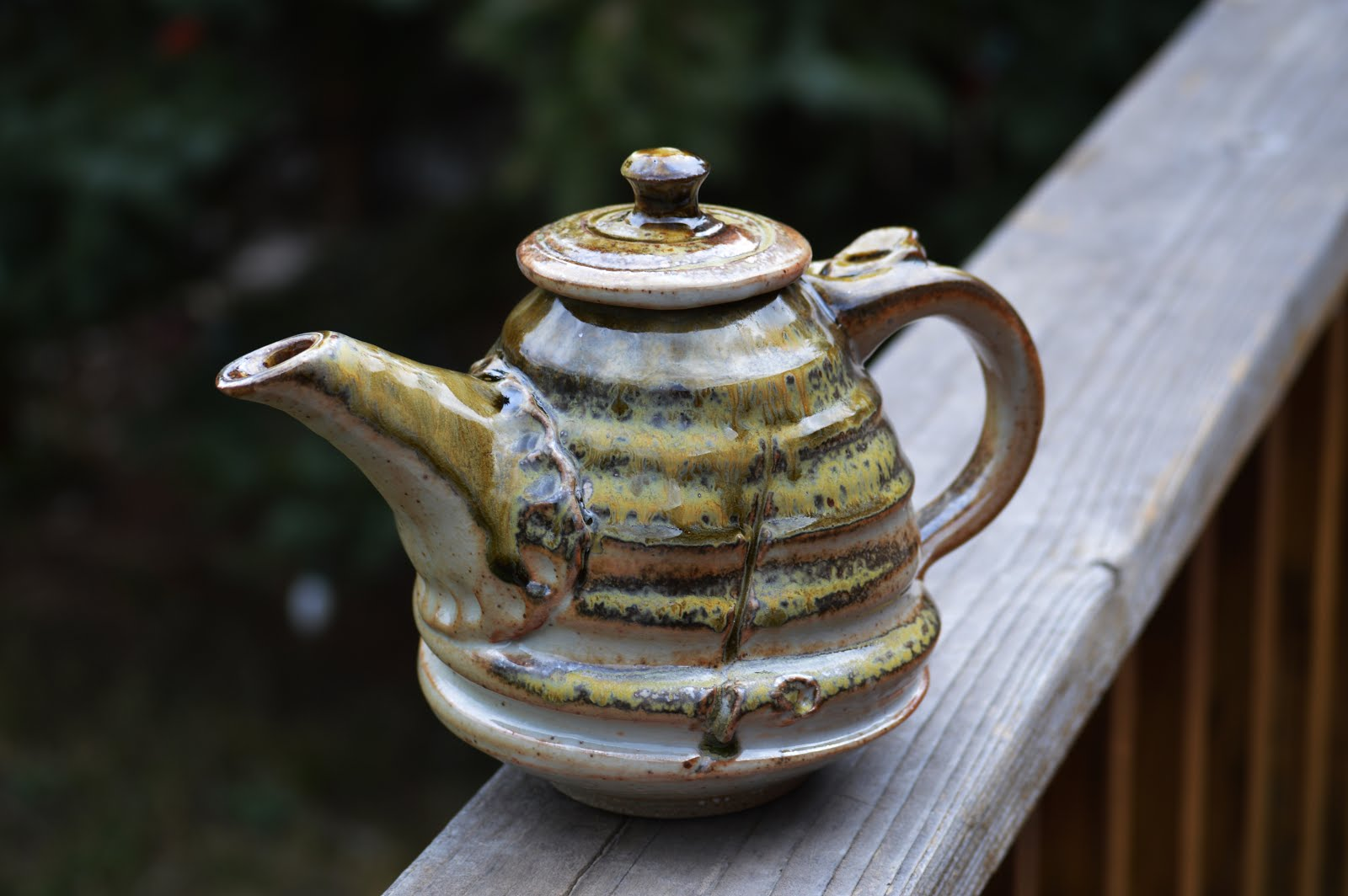Beautiful Handmade teapot with Sheno glaze and Ash!