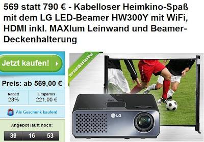 LED-Beamer LG HW300Y + Tischleinwand für 569 Euro inklusive Versandkosten