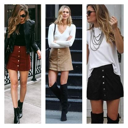 Ideias de looks usando daia de botões: inverno, meia estação e chique. Saia com jaqueta de couro, saia com suéter, saia com blusa encontro