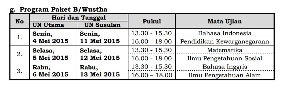 Jadwal UN Program Paket B/Wustha 2015 dan susulannya