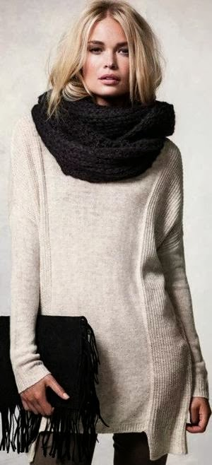 Gorgeous Long White Sweater, Amazing Black Scarf and Handbag