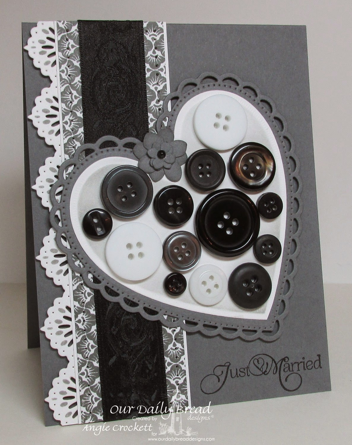 ODBD Ornate Hearts Dies, ODBD Beautiful Borders Dies, Wedding Blessings, Chalkboard Fan Background, Card Designer Angie Crockett