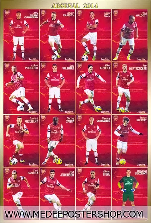 ARSENAL 2014 Football Player Poster