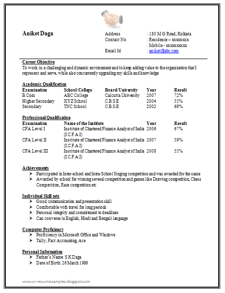 Free Download Link Awesome One Page Resume Sample Doc for Freshers