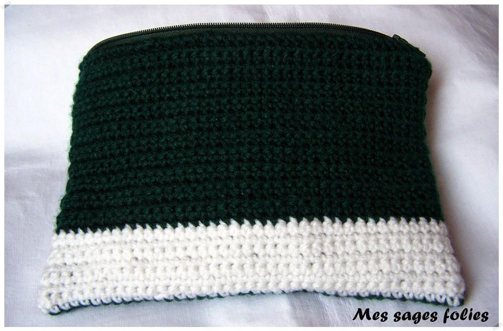 trousse crochet mailles serrées/ green pouch