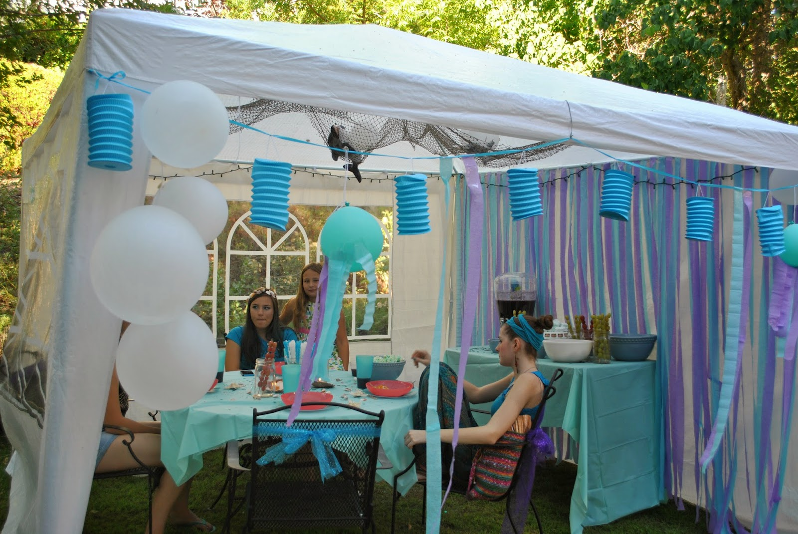 Corrie 39 s creations sophisticated mermaid birthday party for Outdoor party tent decorating ideas