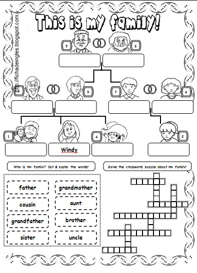 Fichas De Ingles Para Ninos Worksheets About Family