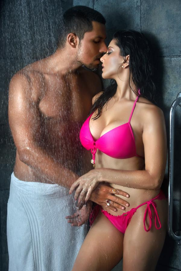 Jism Still In This Sunny Leone Wearing Pink Color Bikini Dress