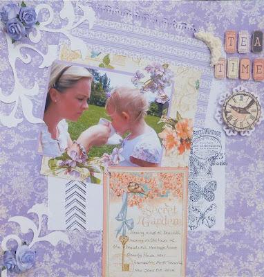 Lesley Walker_Tea Time_Scrapbook Layout_Girly