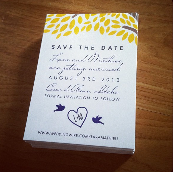Save the date, tree, birds, initials, wedding, invitations, custom order