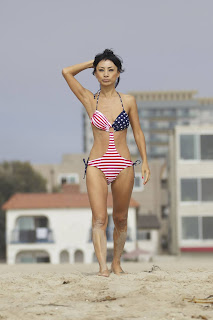 Bai Ling  in an American-flag swimsuit
