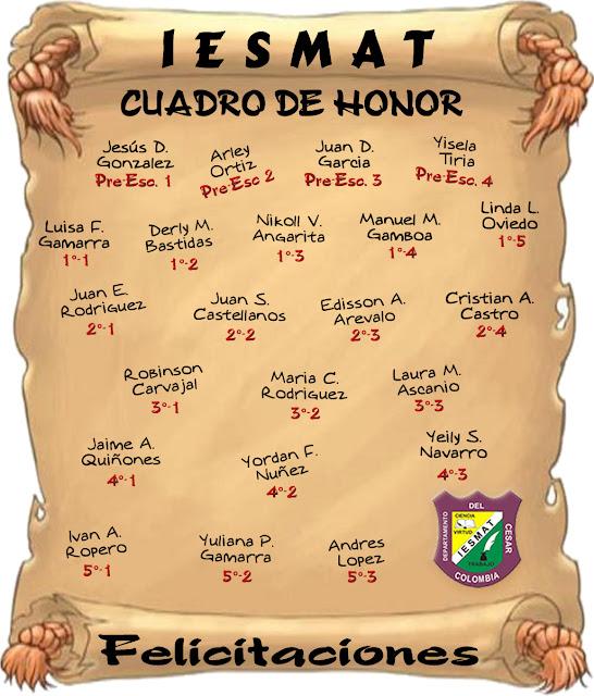 Cuadro de honor, Condecoración, Mejores Estudiantes